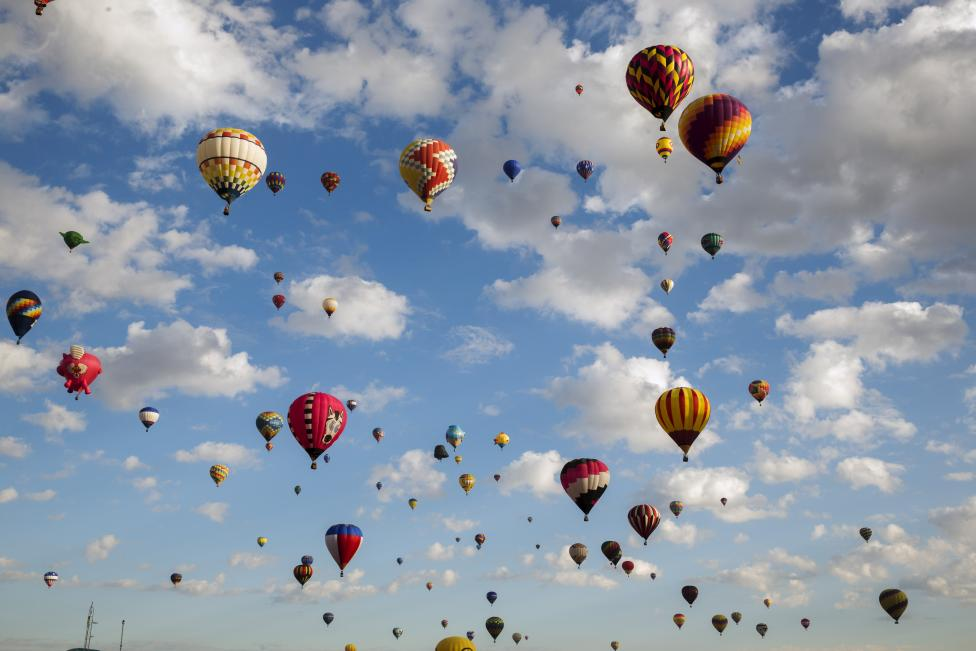 Hot air balloons lift off on the first day, October 3, 2015. REUTERS/Lucas Jackson
