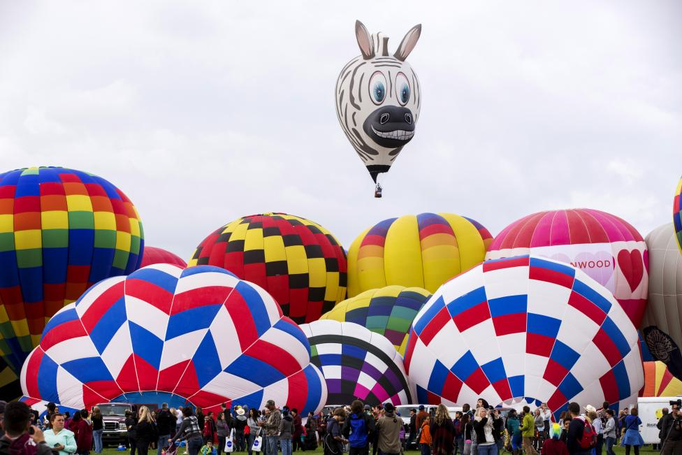 Attendees look up as hundreds of hot air balloons are being prepared on a field before take off, October 4, 2015. REUTERS/Lucas Jackson